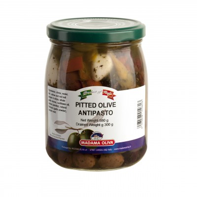 PITTED OLIVES MIX IN GLASS JAR - 580 ML