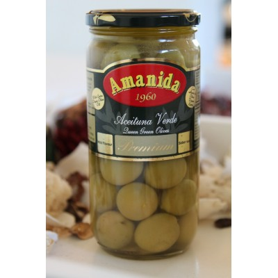 GREEN QUEEN CORDAL OLIVES IN SPANISH MARINADE - 350 GM JARS / 4.250KG TIN